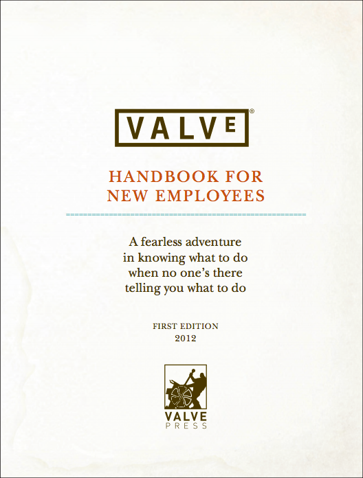Scan of the title page of the Valve Handbook For New Employees