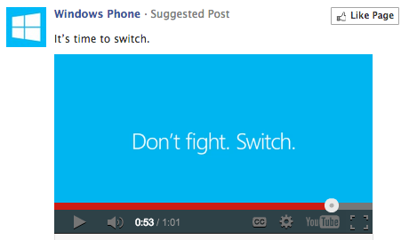 Screen capture of a Microsoft advertisement for a Windows Phone.