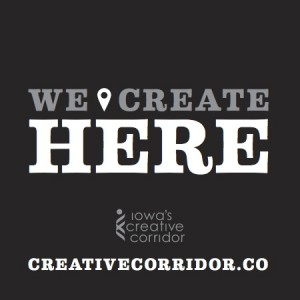 "The ""We Create Here"" logo of the creative corridor."